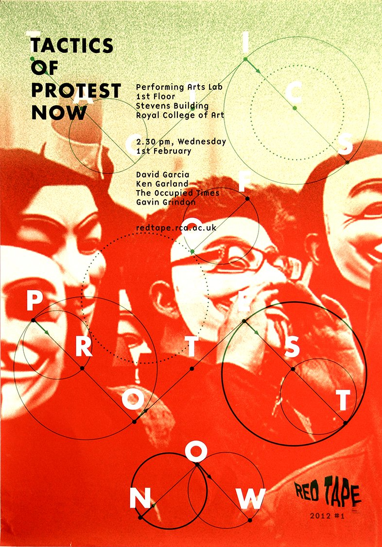 Tactics of Protest Poster for Red Tape Discussion Group