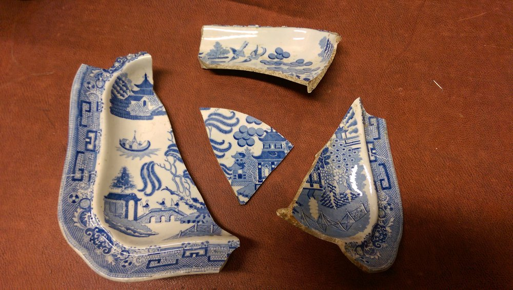 Almost complete 'willow pattern' vegetable tureen excavated from the site of The Crown