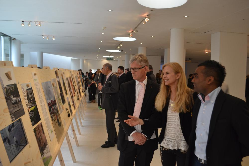 Norwegian Ambassador in London, HE Kim Traavik (Left) is shown around the Design that Makes a Difference exhibition by curators Rama Gheerawo and Onny Eikhaug
