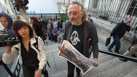 Peter Kennard and Leah Borromeo at an arms trade demo