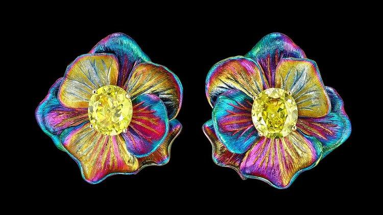 rainbow aluminium earrings
