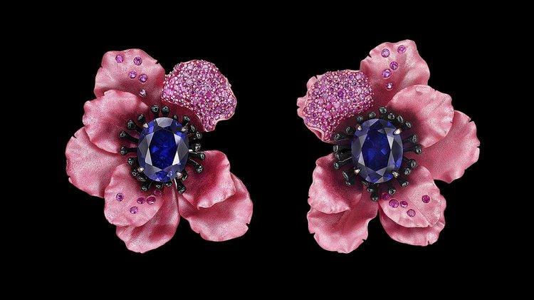 Rose Sapphire Poppy Earrings