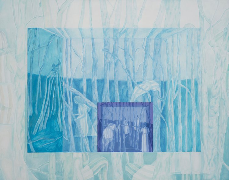a painting in blue tones of figures amongst a forest of trees