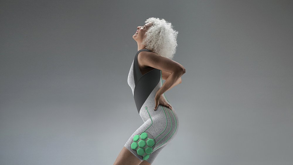 Aura Power Suit by Yves Béhar, Fuseproject and Superflex for the New Old Designing for Our Future Selves exhibition at the Design Museum (2017)