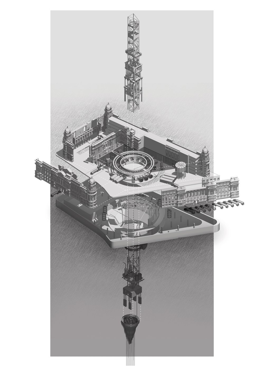 Axonometric Illustration: Fracking site inhabits the Old War Office of Whitehall