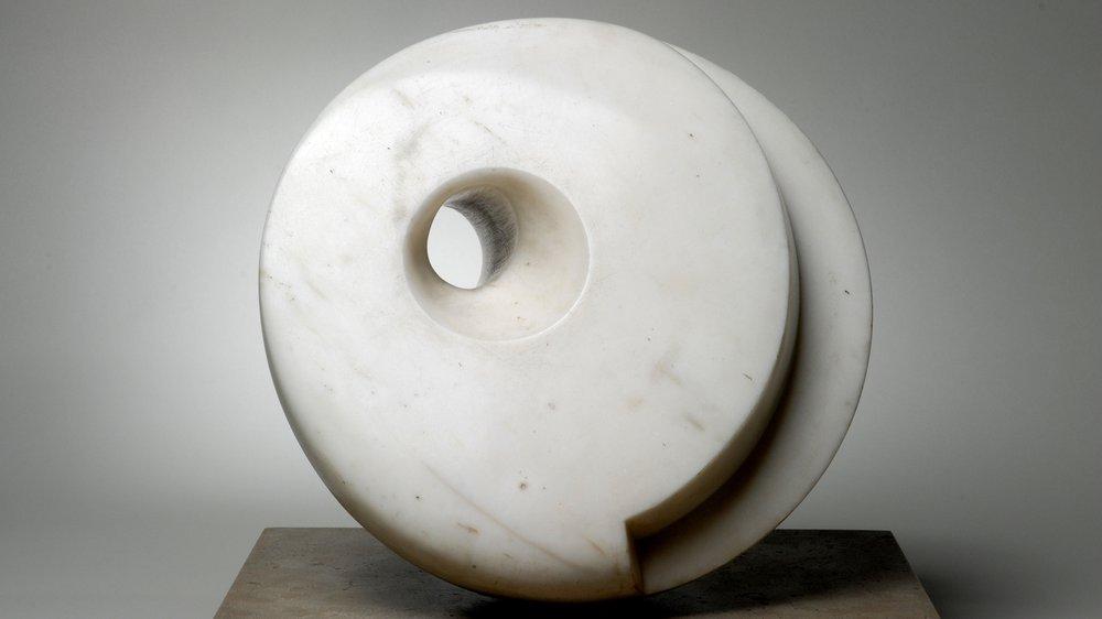Barbara Hepworth, Pierced Hemisphere, 1937. White marble.