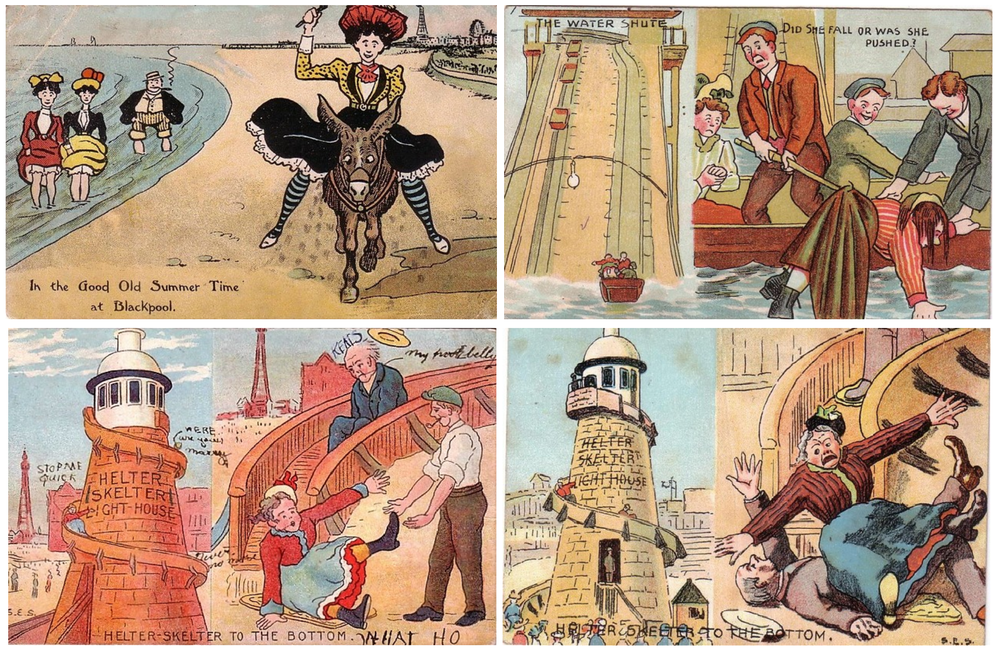 Examples of humorous Edwardian seaside postcards (circa 1910)