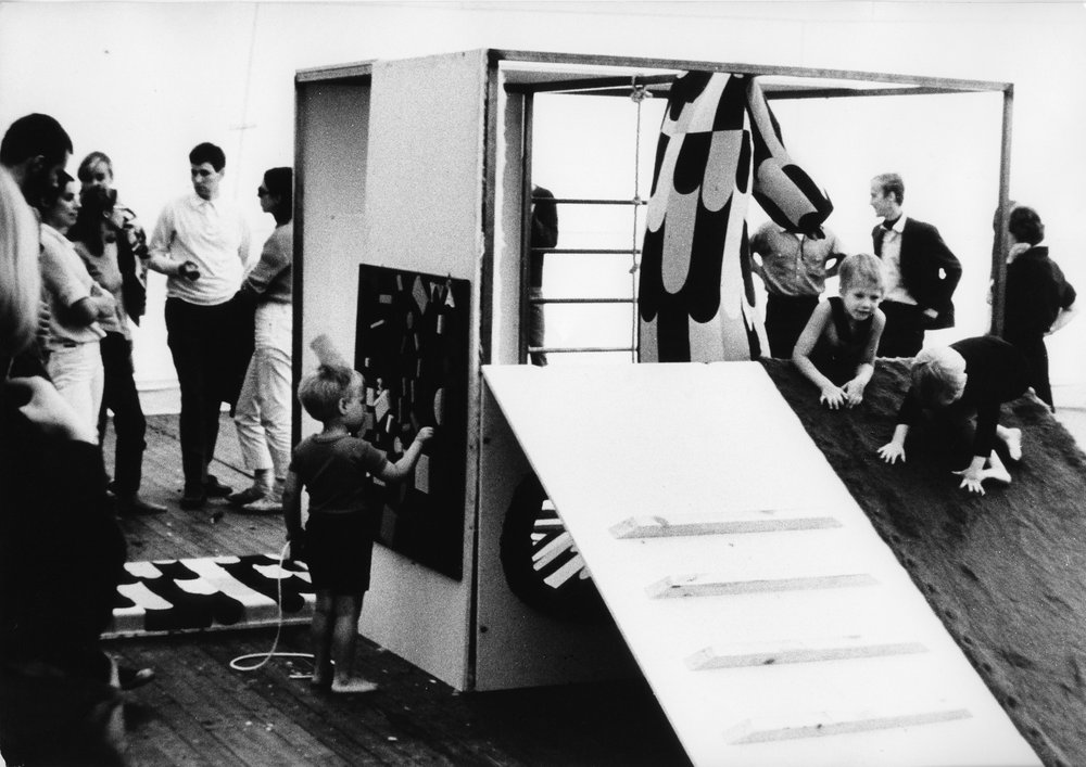 A prototype for a playing environment for disabled children, designed by Scandinavian design students in a design symposium in Suomenlinna, Finland, in the summer of 1968.