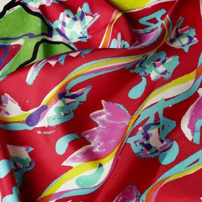 detail of a colourful floral textiles