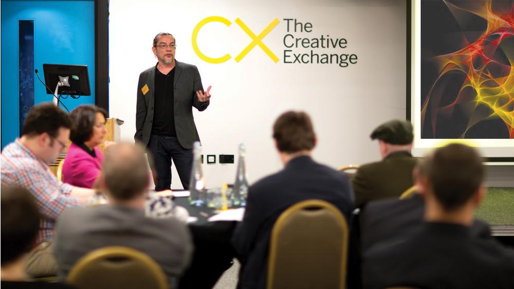 Neville Brody speaking at a Creative Exchange event