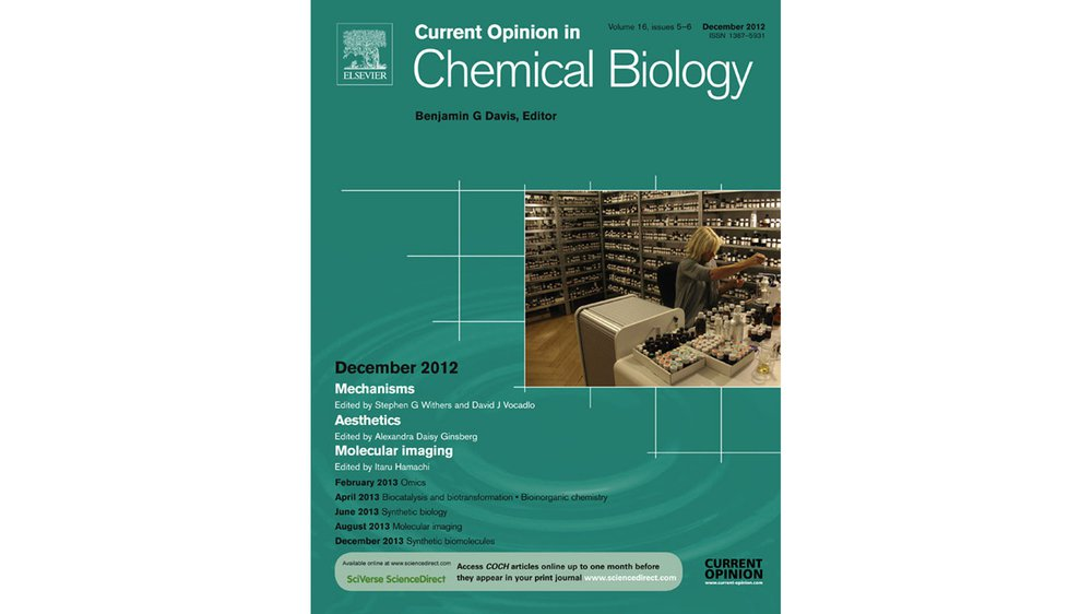 Cover of Current Opinion in Chemical Biology, special issue Aesthetics edited by Alexandra Daisy Ginsberg (December 2012) 16 (5-6), 564-568)