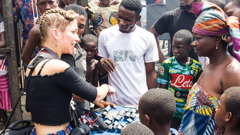 Presenting design intervention proposal back to Egun community members in Makoko