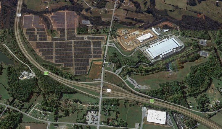 Apple Data centre and solar farm. Maiden, North Carolina. Source: Google Earth
