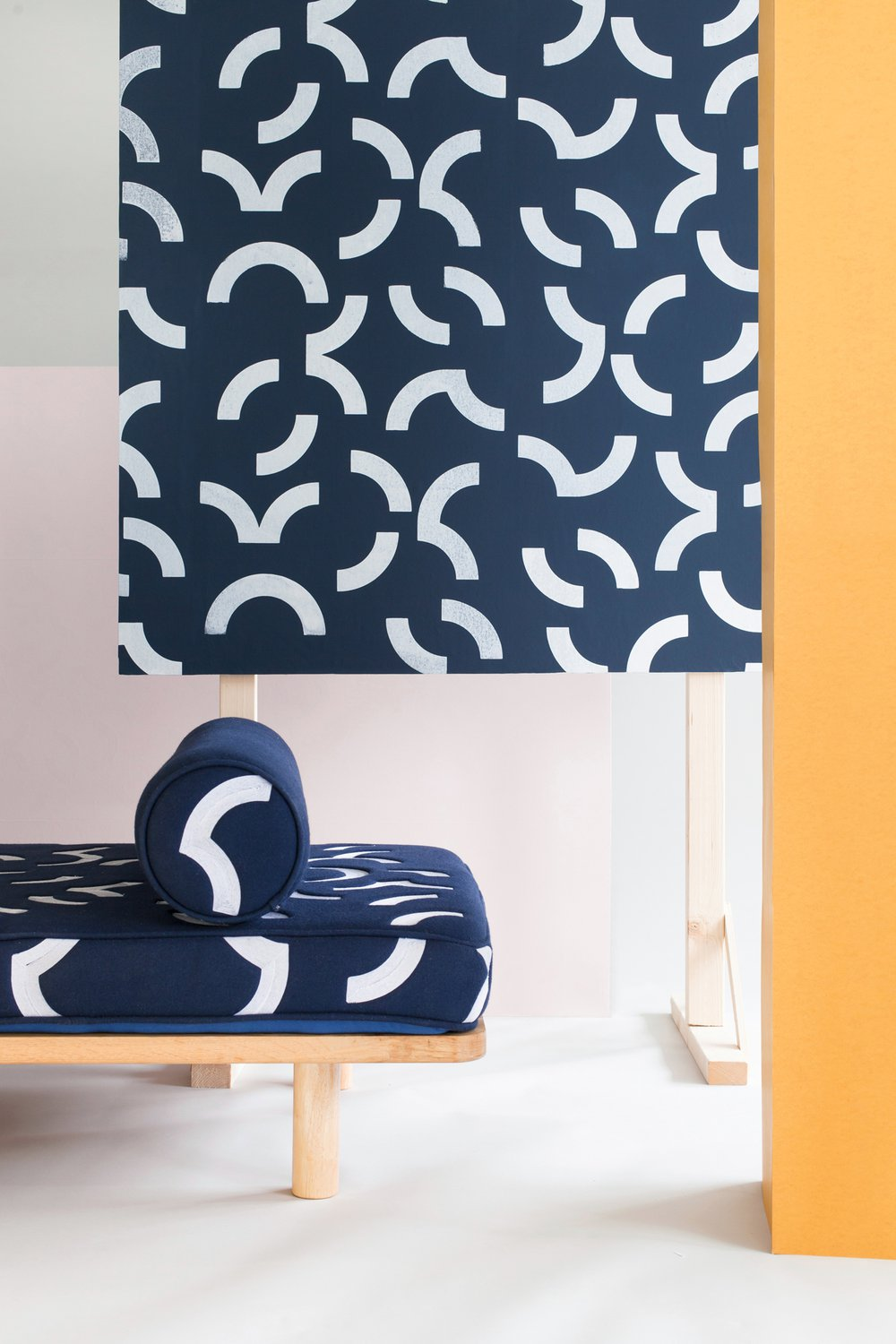 Contour collection. Screen printed wallpaper and cornelli embroidered textiles and upholstered furniture blocks.