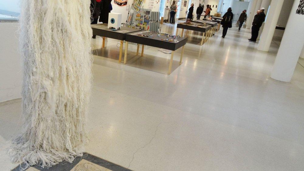 School of Material Work-in-progress Show 2015, work on pillar by Olivia Kennedy