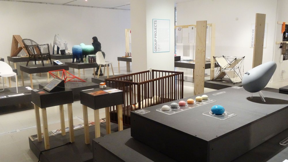 Group projects and 'Superform' chair design project, by Innovation Design Engineering students at the 2015 School of Design Work-in-progress Show