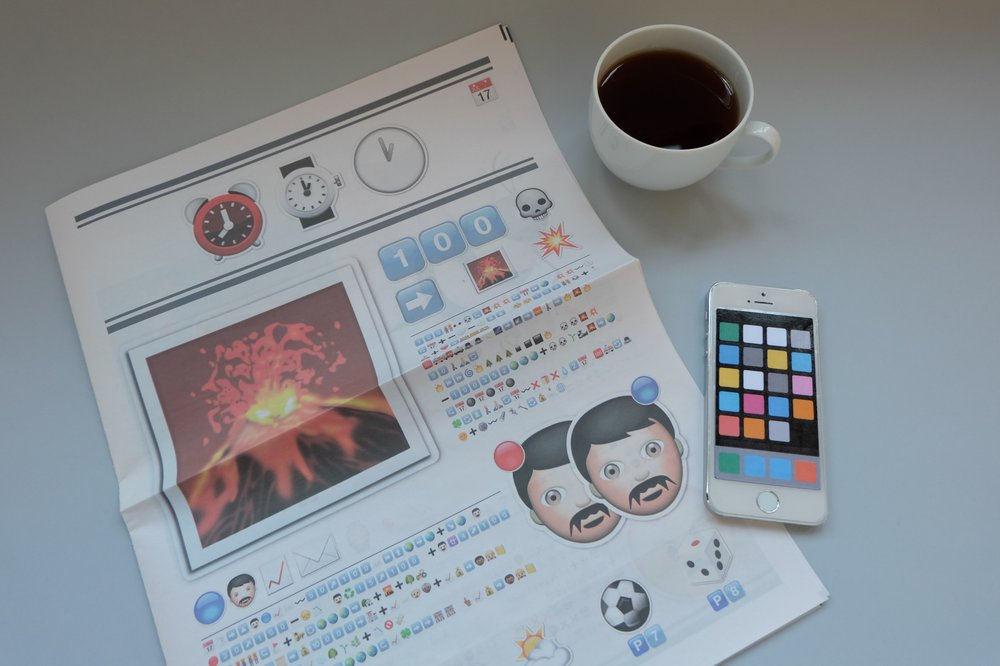 Newspaper, phone, coffee