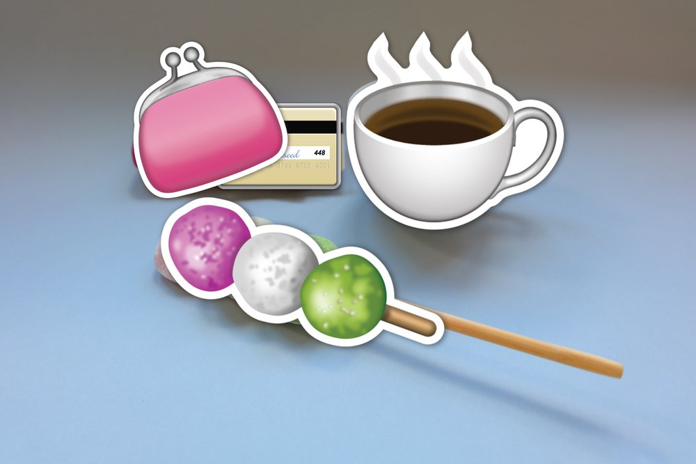 Emoji purse, card, dango, coffee