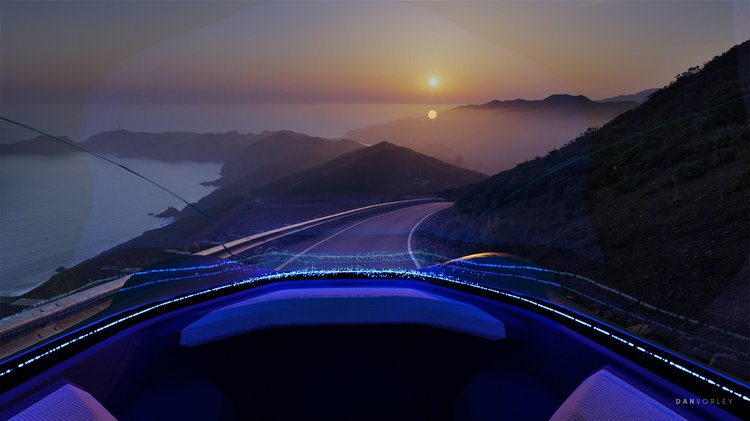 Vision from a driverless vehicle of a sunset