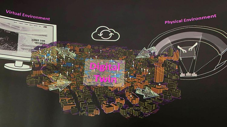 projected image of a visualisation of the digital twin model