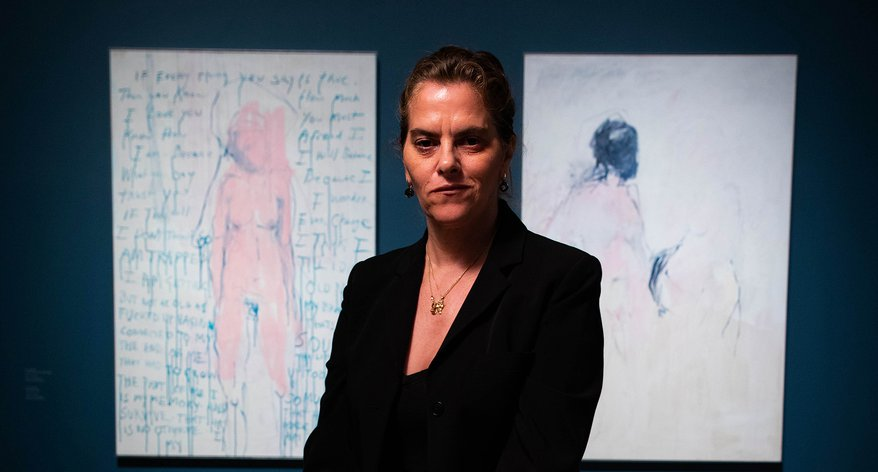 racey Emin in front of I am The Last of my Kind, 2019 (left) and You Came, 2018 (right), on display at the Royal Academy of Arts, London.