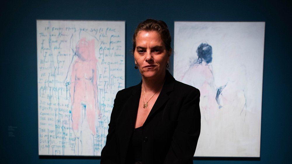 Tracey Emin in front of I am The Last of my Kind, 2019 (left) and You Came, 2018 (right), on display at the Royal Academy of Arts, London.