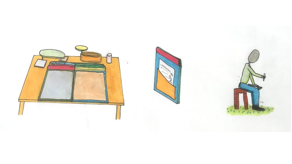 Early sketches of prototype in situ and in usee