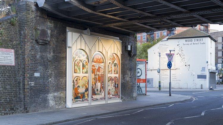 photograph of a mural under a railway bridge in Wood Street, London