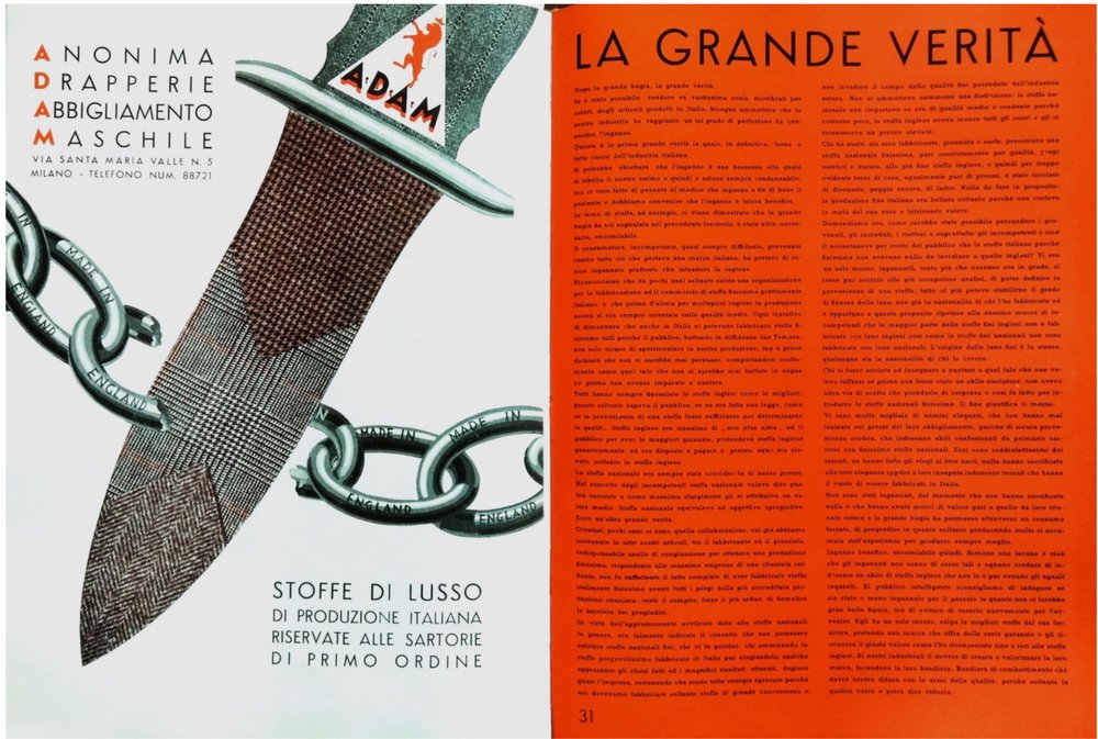 A.D.A.M. Ad. illustrating the article La Grande Verità (The Great Truth)