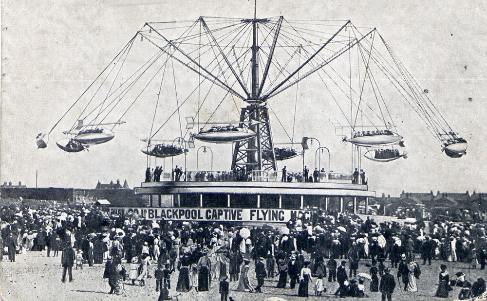 Hiram Maxim's Flying Machine, Blackpool Pleasure Beach (Postcard, 1909)