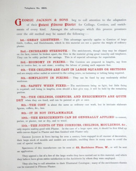 'Vol. I . Ceilings, Friezes, Cornices'