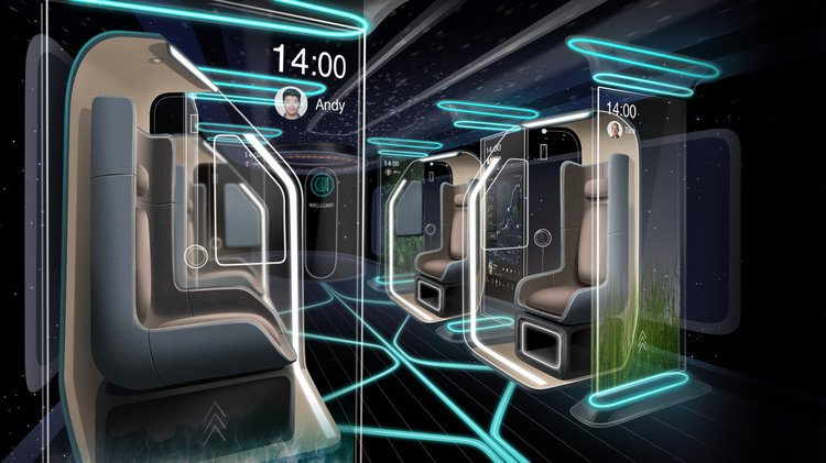 A visualisation of an interior of a future vehicle