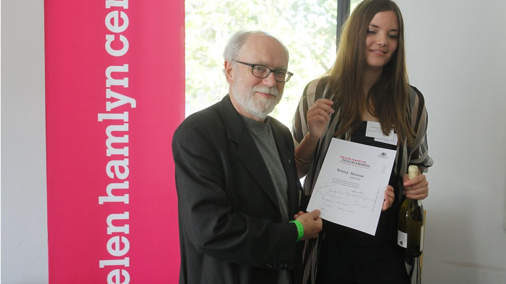 Peter Gyllan presenting to Verena Hanschke at the Awards presentations