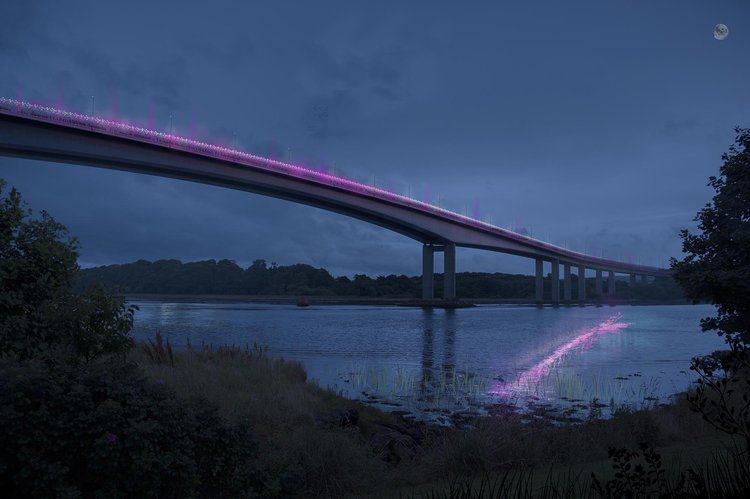 computer visualisation of a bridge over the River Foyle at night lit up with pink and purple lights