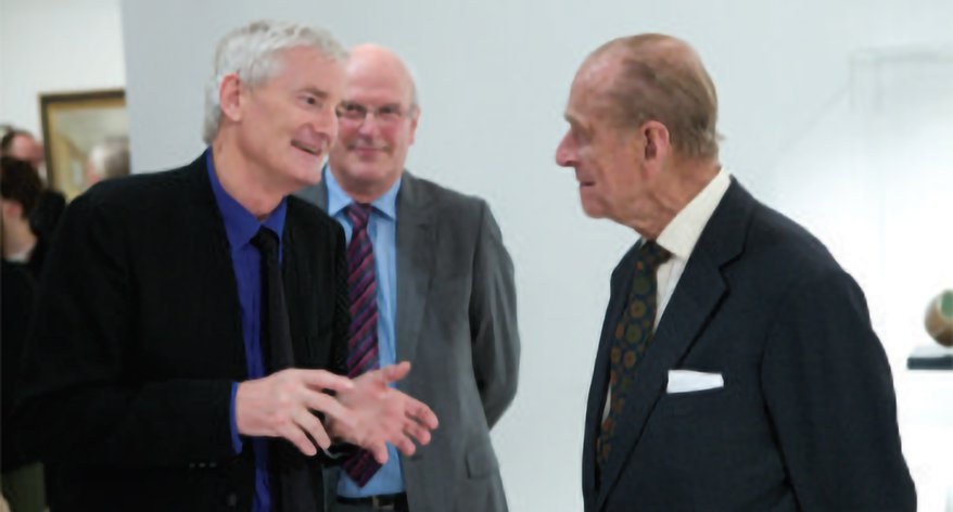 HRH Prince Phillip in discussion with the RCA's Chancellor Sir James Dyson and in the background, its Pro Chancellor and Chair of Council, Sir Neil Cossons).