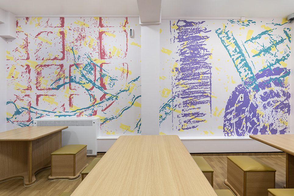 Harold Offeh, Painted Mural, Dining Room, Croydon PICU, London. Photo by Damien Griffiths. Courtesy of Hospital Rooms, 2019