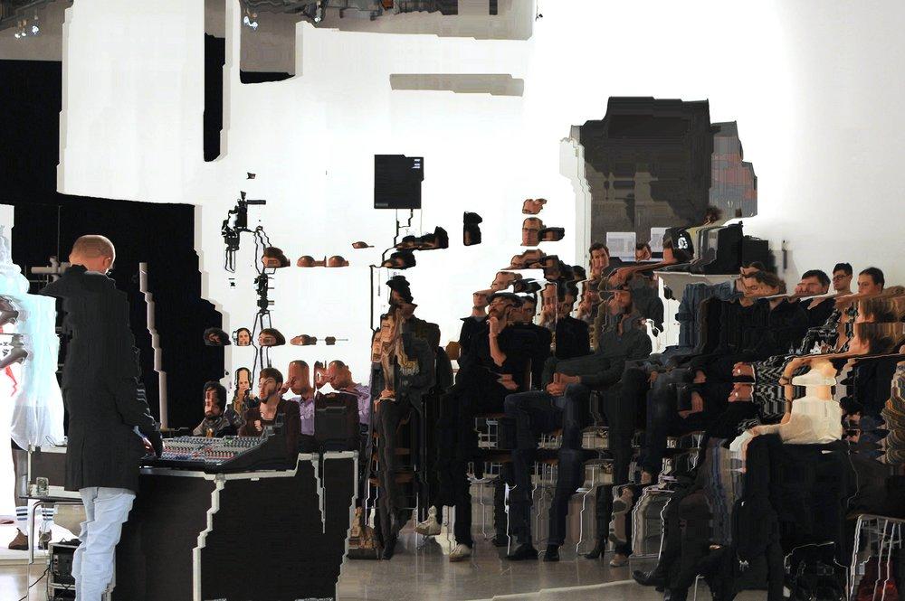 3 Channel Chronics(performance), Florian Hecker, Push & Pull, Mumok, Vienna, 12. Oktober 2010, Processed Performance Still, original photography © Manuel Gorkiewicz, 2010