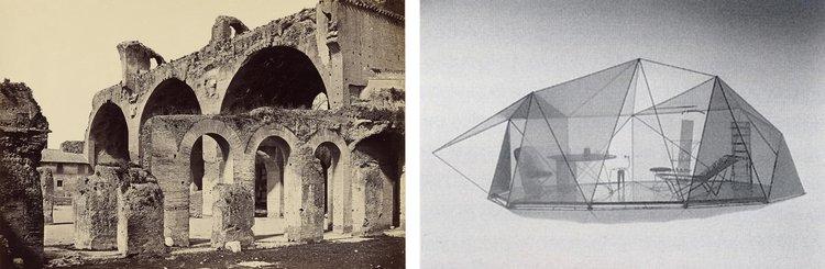 Left: Basilica of Maxentius. Right: Pao II, Toyo Ito