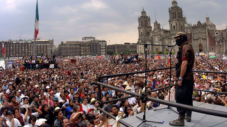 Subcomandante Marcos, addressing the demonstrators at El Zócalo Square, Mexico City, 2006
