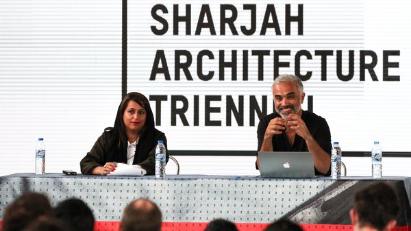 Dr Adrian Lahoud, Dean of the RCA School of Architecture and curator of the Sharjah Architecture Triennial, with RCA alumna Hoor Al-Qasimi,  director of Sharjah Art Foundation
