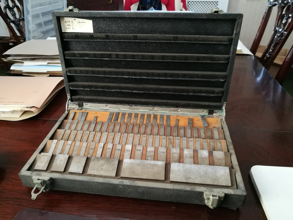 A box of Johansson engineering gauges, used and potentially made by Deakin & Francis during the war, property of Deakin & Francis
