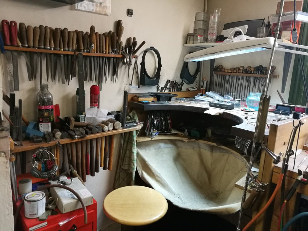 A jeweller's bench with tools today, property of Tom Scott