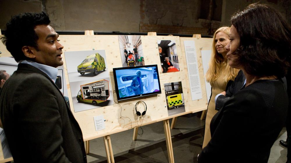 Norwegian minister Solveig Horne, Onny Eikhaug, Norwegian Design Council and Rama Gheerawo (left) with ambulance project exhibit