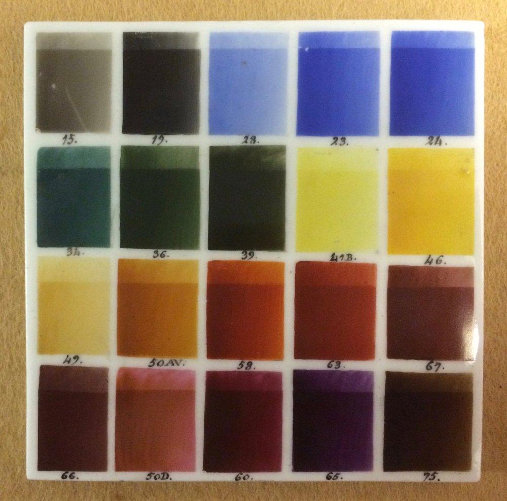 Slab with samples of coloured enamels