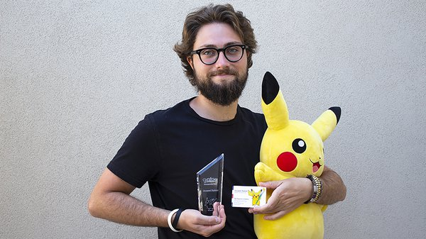 Giovanni Dipilato with his awards from Pokémon