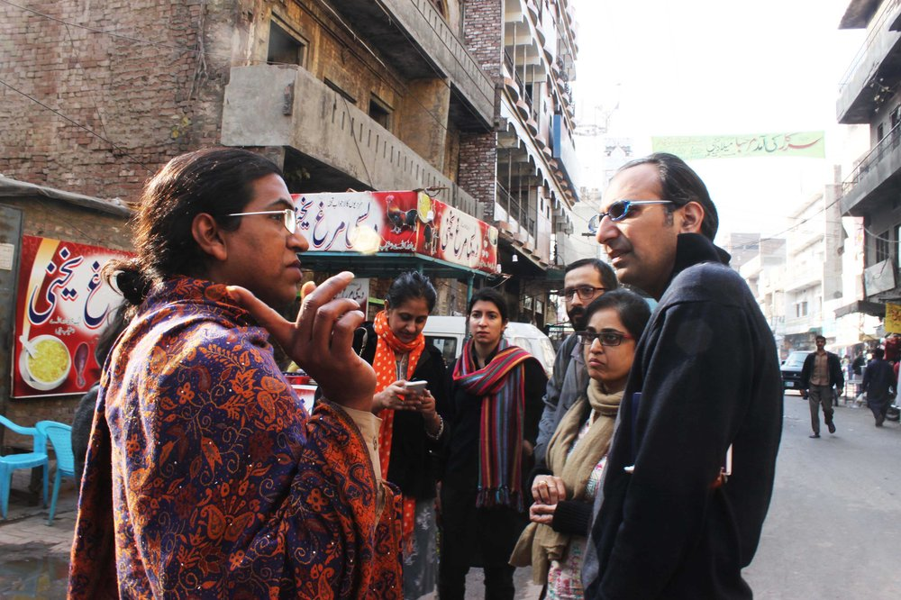 Neeli showing the area for light installation,Awami Art CollectiveJanuary 2016.credits Rabia Hassan