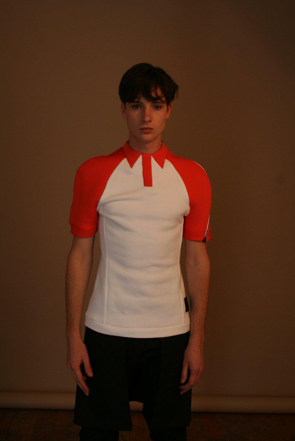 Model wearing T-shirt (alternative view)