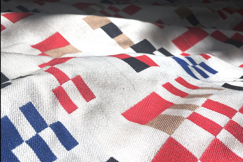 'fold; Simulationisms' - Detail of a prototype of a woven design inspired by Taeuber's 'Composition Aubette 1928'