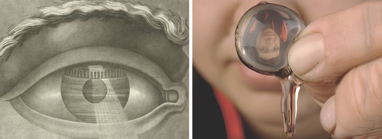 Left: Claude-Nicolas Ledoux, Coup d'oeil du théâtre de Besançon, 1804. Image: Archives Larousse. Right: Reenactment of Descartes's discovery that we receive images as inverted. Image: Exploratorium.