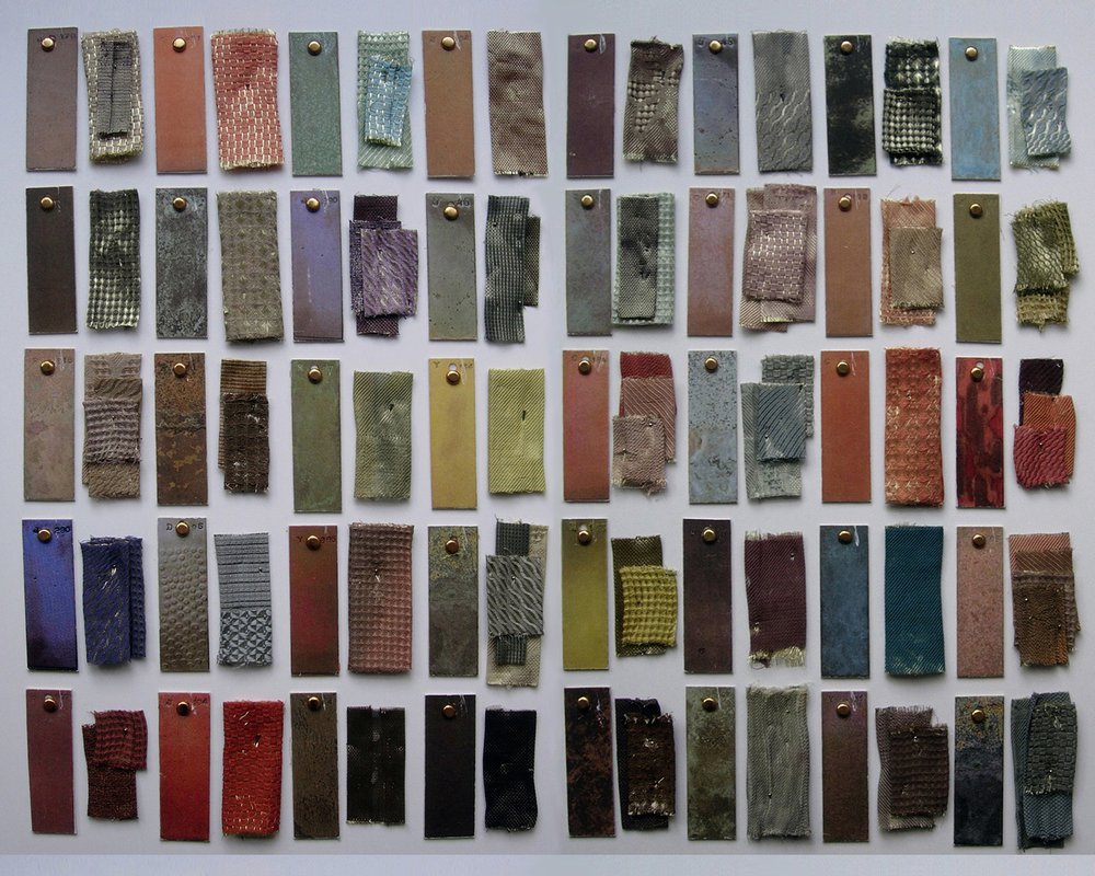 Study into metal colouring: hand woven and hand dyed metal fabric samples  and colour swatches from The Colouring, Bronzing and Patination of Metals